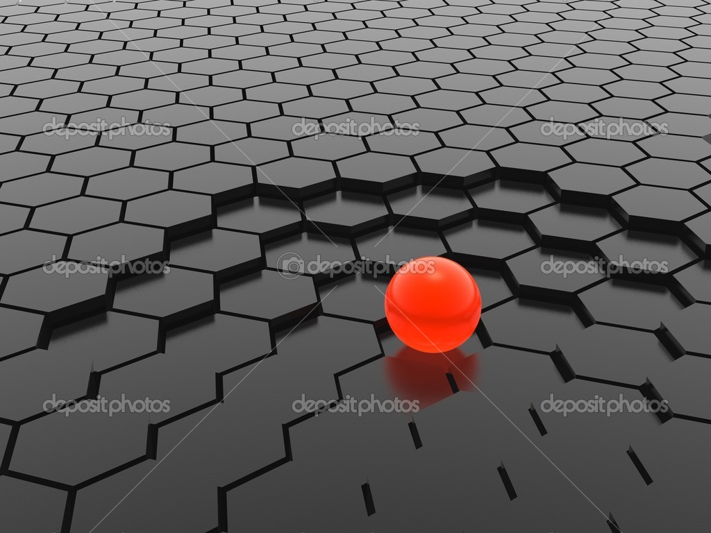 Red sphere on hexagon mesh — Stock Photo #1601111