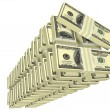 Stock Photo: Unordered tall stack of bills isolated