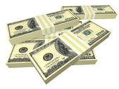 Scattered pack of dollar bills isolated — Stock Photo