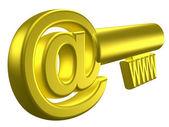 Rendered image of stylized gold key — Stock Photo