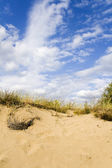 Sand dunes under a nice clouded sky — Stock Photo