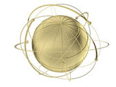Globe with wired orbits of satellite — Stock Photo