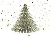 Christmas tree made by dollars with coin — Stock Photo