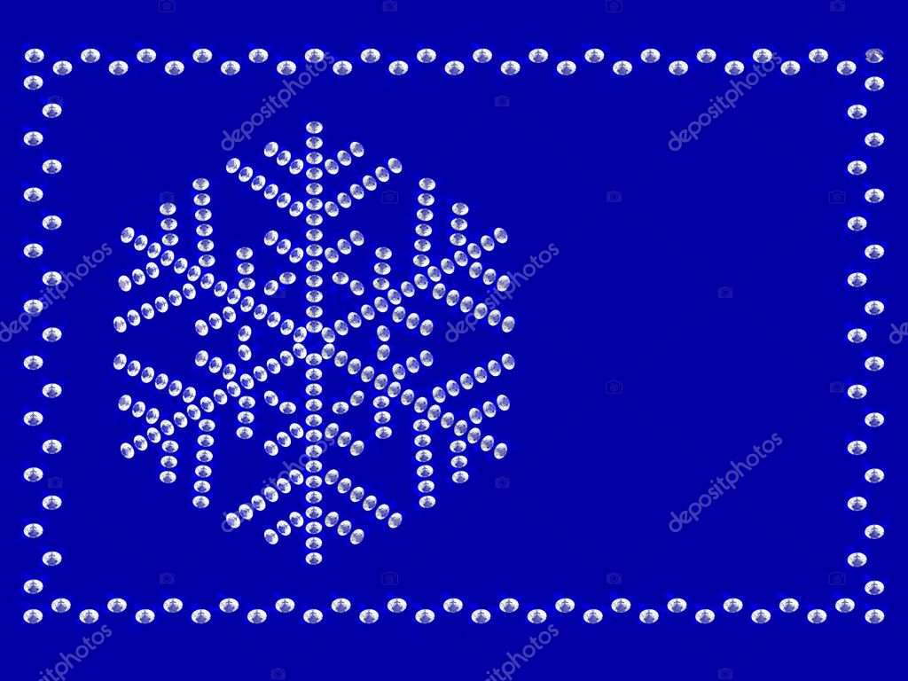 Frame with snowflake on blue background composed by diamonds  Stock Photo #1555336
