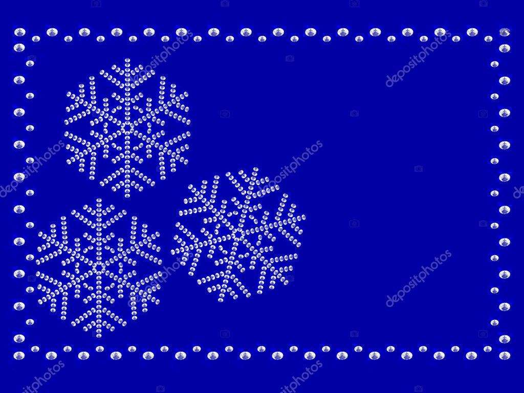 Frame with snowflakes on blue background composed by diamonds — Stock Photo #1555345