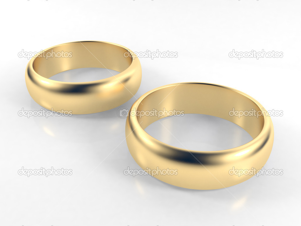 Isolated engagement gold  rings on white background — Stock Photo #1557651