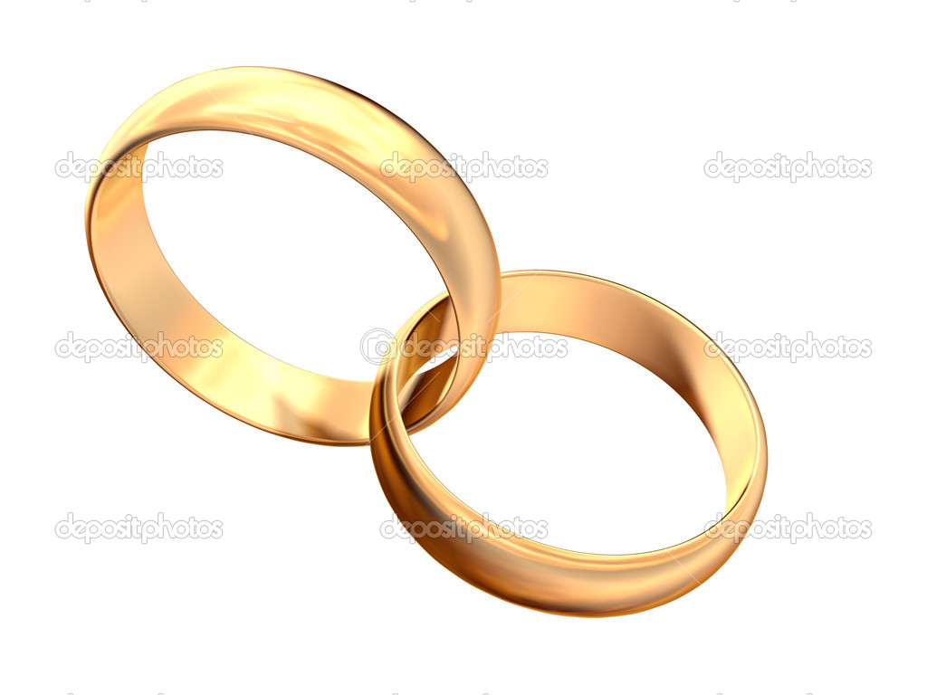 Isolated engagement gold  rings on white background — Stock Photo #1557653