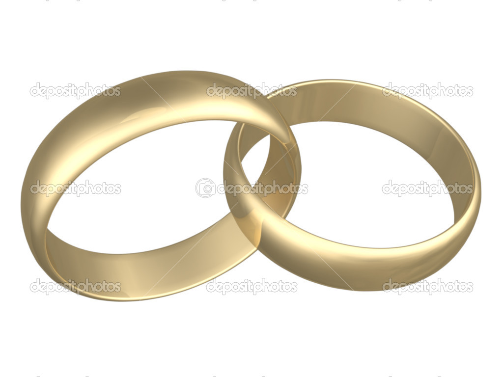 Isolated engagement gold  rings on white background — Photo #1557679
