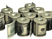 Roll of dollars — Stockfoto