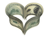 Valentine heart shape made by dollars — Stock Photo