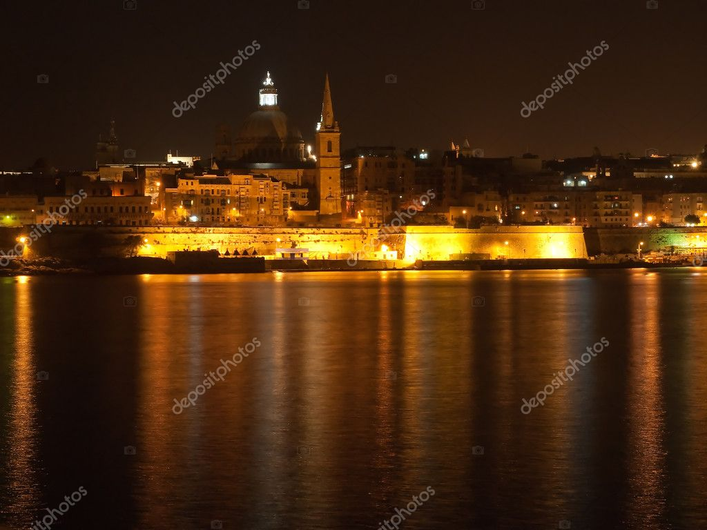 Night View of Valetta from Sliema, Malta  Stock Photo #1881646