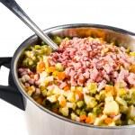 Russian salad ingredients — Stock Photo