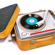 Retro portable turntable - 图库照片