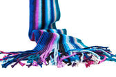 Striped multicolored woolen scarf — Stock Photo