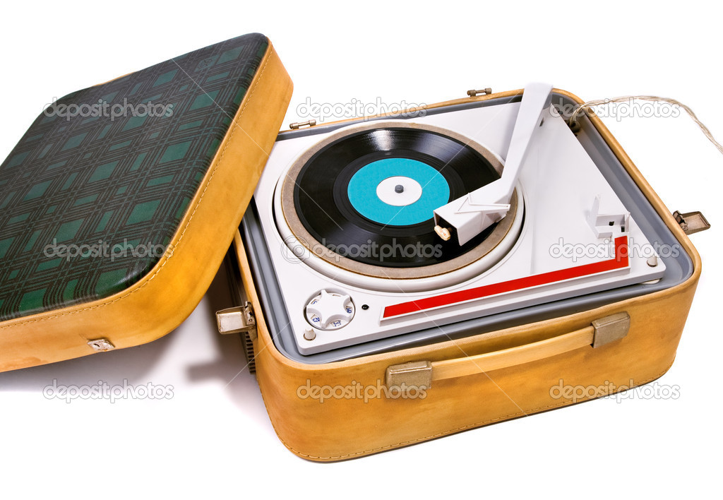 Retro portable turntable — Stock Photo #1552363