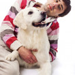 Young man and his dog — Stock Photo