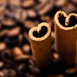 Coffee and cinnamon sticks — 图库照片