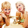 Two attractive blondes hanging out — Stock Photo #2102713