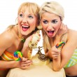 Two attractive blondes hanging out — Stock Photo