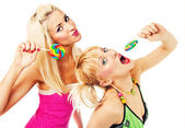 Two attractive blonde models posing — Stock Photo
