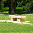 Stone garden bench — Stock Photo