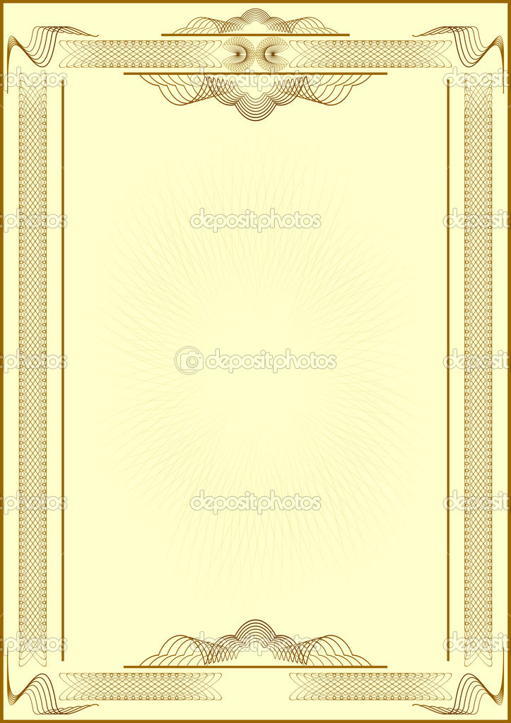 Patterned form of certificate.Light yellow background.Vectorial illustration. — ベクター素材ストック #1553577