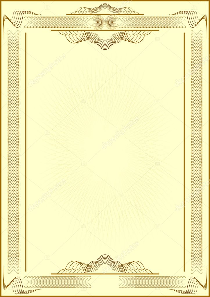 Patterned form of certificate.Light yellow background.Vectorial illustration. — Stock Vector #1553577