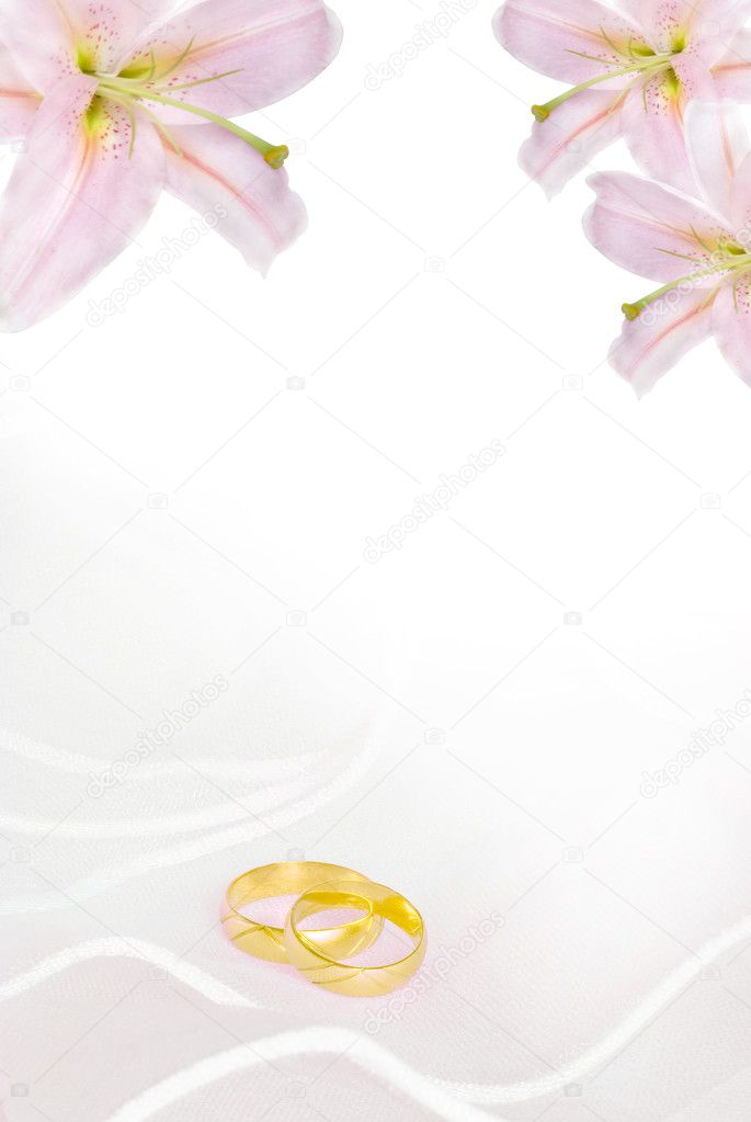 Wedding invitation or greeting card blank with lily flowers and golden rings  Stock Photo #1553986
