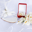 Wedding sandals and flowers over veil — Stock Photo