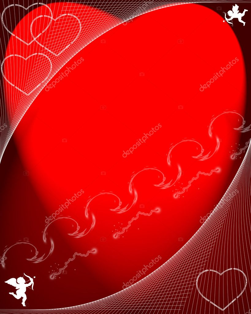 Valentines day red cupids illustration — Lizenzfreies Foto #1574342