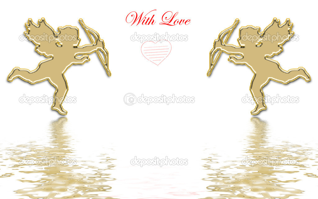 Valentines day golden cupids illustration — Stock fotografie #1574362