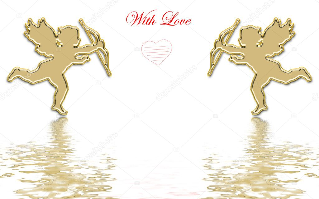 Valentines day golden cupids illustration — Stockfoto #1574362