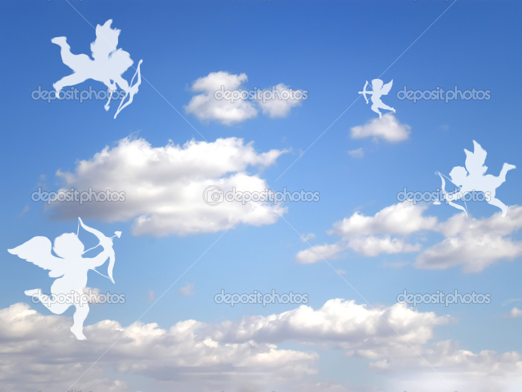 Valentines day white cupids on cloudy sky — Stockfoto #1574417