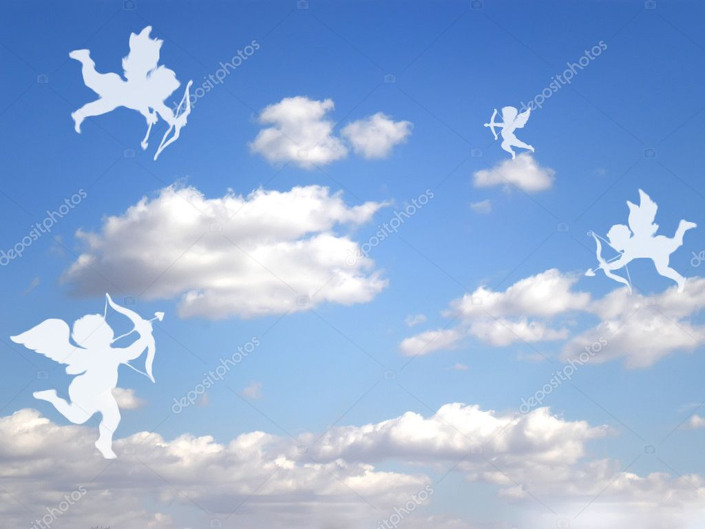 Valentines day white cupids on cloudy sky — Stok fotoğraf #1574417