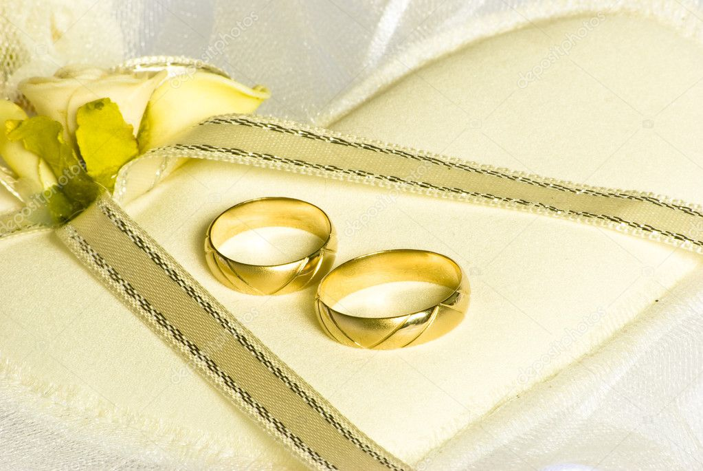 Wedding Rings And Flowers Over Veil Stock Photo Dessie Bg