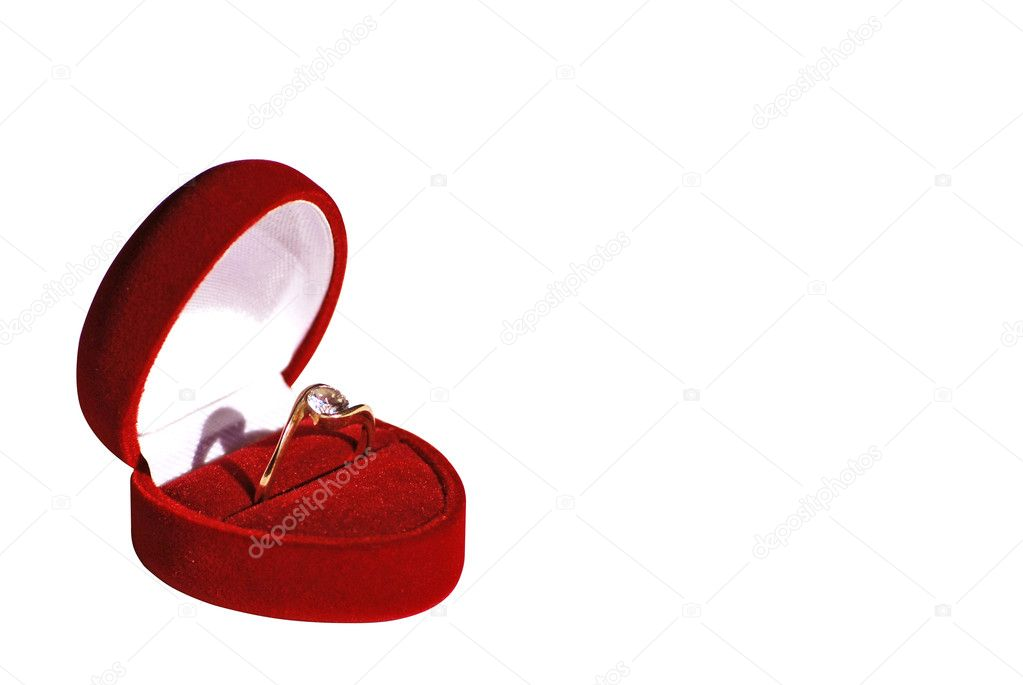 Engagement ring in red box isolated on white background work path included — Stock Photo #1578648