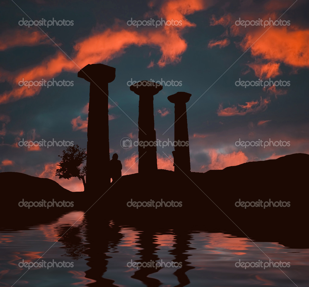 Ancient ruins at sunset with lonely woman silhouette — Stock Photo #1579308