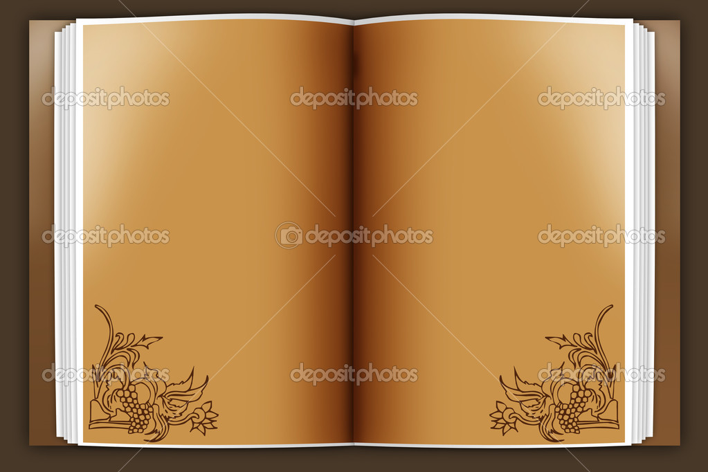 Old book opened on a brawn background — Stock Photo #1579383