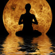 Yoga on moon and water background — Stok fotoğraf