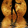 Yoga on moon and water background — Stock Photo