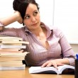 Stock Photo: Bored studying