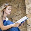 Stock Photo: Beautiful young womreading book