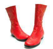 A pair of bright red boots — Stock Photo