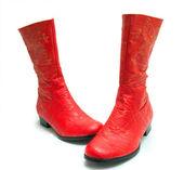 Parlak kırmızı çizme bir çift — Stok fotoğraf
