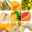 Colorful healthy fruit collage — Stock Photo