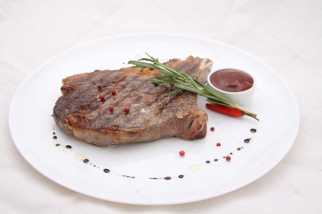 Rib-eye steak resting ...