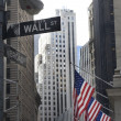 Stock Photo: Wall street and broadway street signs