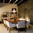 Night scene of a dining room - Foto Stock