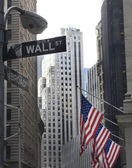 Wall street and broadway street signs — Stock Photo