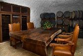 Wine cellar dinning space — Stock Photo